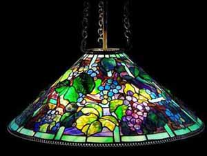 Tiffany hanging lamps, chandeliers.